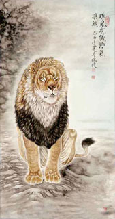 Chinese Lion Painting,66cm x 136cm,4441004-x
