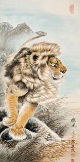 Chinese Lion Painting,66cm x 136cm,4441005-x