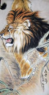 Chinese Lion Painting,66cm x 136cm,4442001-x