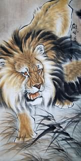 Chinese Lion Painting,66cm x 136cm,4442002-x