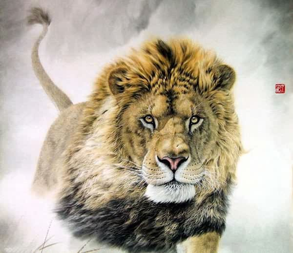 Chinese Lion Painting 0 4445002 98cm X 98cm 38〃 X 38〃