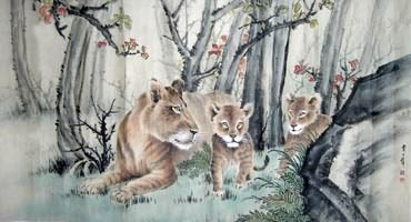 Chinese Lion Painting,92cm x 174cm,4446003-x