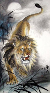 Chinese Lion Painting,97cm x 180cm,4696003-x
