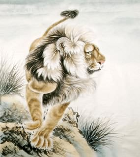 Chinese Lion Painting,85cm x 93cm,4733007-x
