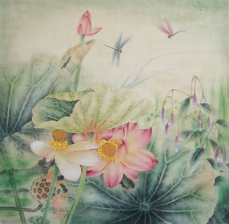 Chinese Lotus Painting,66cm x 66cm,2011001-x