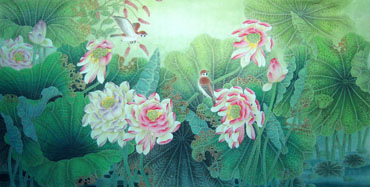 Chinese Lotus Painting,66cm x 130cm,2011004-x