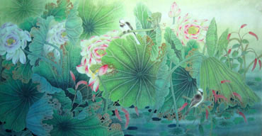 Chinese Lotus Painting,66cm x 130cm,2011005-x