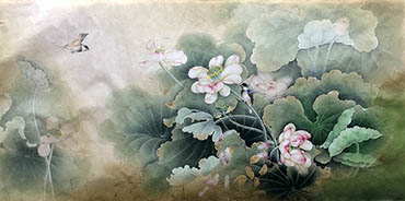 Chinese Lotus Painting,68cm x 136cm,2011023-x