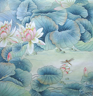 Chinese Lotus Painting,66cm x 66cm,2011024-x
