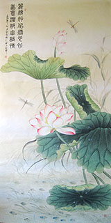 Chinese Lotus Painting,90cm x 180cm,2011027-x