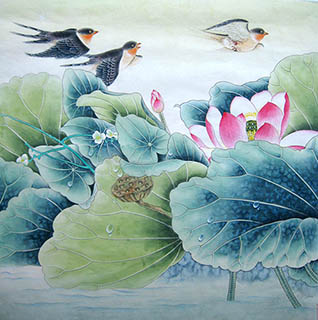 Chinese Lotus Painting,66cm x 66cm,2011028-x