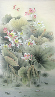 Chinese Lotus Painting,90cm x 180cm,2011029-x
