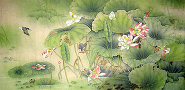 Chinese Lotus Painting,120cm x 240cm,2011030-x