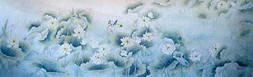 Chinese Lotus Painting,145cm x 346cm,2011031-x