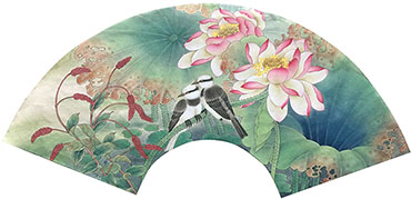 Chinese Lotus Painting,60cm x 21cm,2011032-x