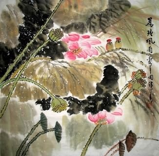 Chinese Lotus Painting,66cm x 66cm,2075002-x