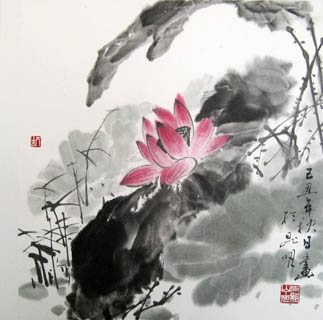 Chinese Lotus Painting,33cm x 33cm,2318001-x
