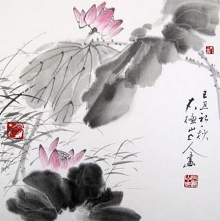Chinese Lotus Painting,33cm x 33cm,2318008-x