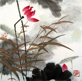 Chinese Lotus Painting,33cm x 33cm,2318010-x