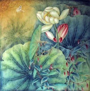 Chinese Lotus Painting,66cm x 66cm,2319001-x