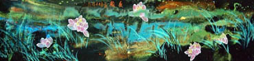 Chinese Lotus Painting,33cm x 130cm,2319007-x