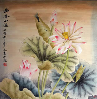 Chinese Lotus Painting,66cm x 66cm,2319013-x