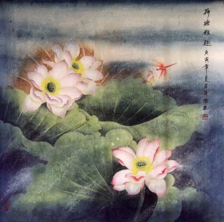 Chinese Lotus Painting,66cm x 66cm,2319016-x