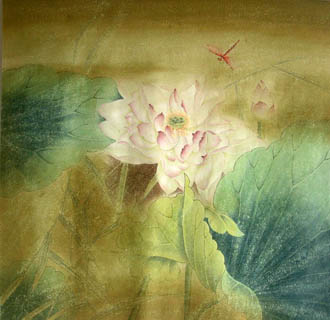 Chinese Lotus Painting,66cm x 66cm,2319017-x