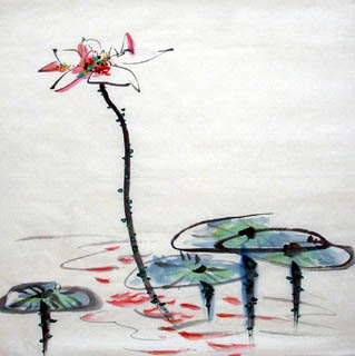 Chinese Lotus Painting,69cm x 69cm,2322007-x