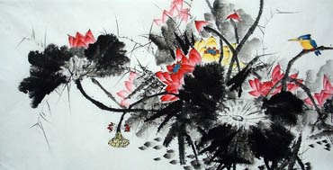 Chinese Lotus Painting,66cm x 136cm,2322008-x