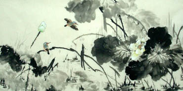 Chinese Lotus Painting,66cm x 136cm,2322009-x