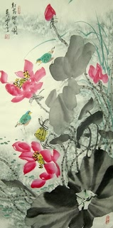 Chinese Lotus Painting,48cm x 96cm,2323007-x