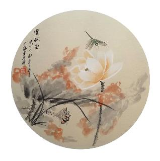 Chinese Lotus Painting,50cm x 50cm,2324049-x