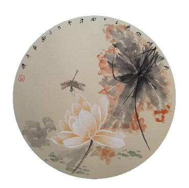 Chinese Lotus Painting,50cm x 50cm,2324050-x