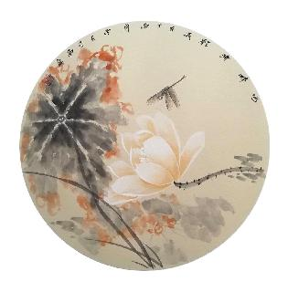 Chinese Lotus Painting,50cm x 50cm,2324051-x