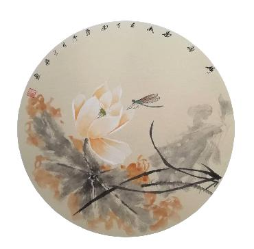 Chinese Lotus Painting,50cm x 50cm,2324054-x