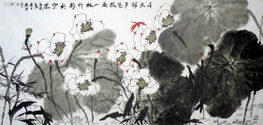 Chinese Lotus Painting,69cm x 138cm,2325022-x