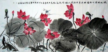 Chinese Lotus Painting,69cm x 138cm,2325023-x