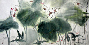 Chinese Lotus Painting,69cm x 138cm,2325024-x