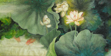 Chinese Lotus Painting,50cm x 100cm,2330002-x