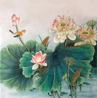 Chinese Lotus Painting,69cm x 69cm,2352018-x