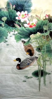 Chinese Lotus Painting,66cm x 136cm,2352020-x