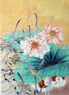 Chinese Lotus Painting,62cm x 92cm,2352025-x