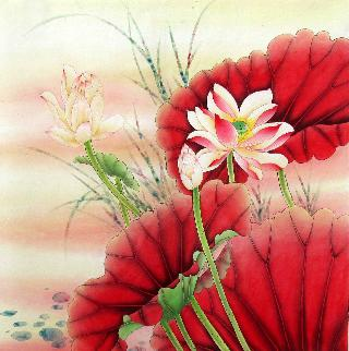 Chinese Lotus Painting,66cm x 66cm,2387006-x