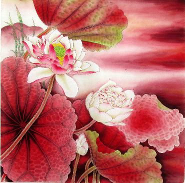 Chinese Lotus Painting,66cm x 66cm,2387007-x