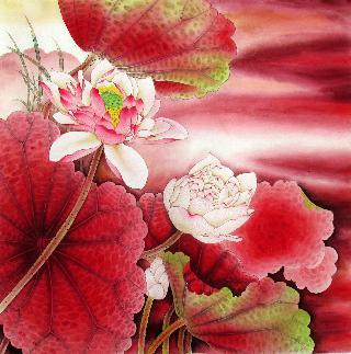 Chinese Lotus Painting,66cm x 66cm,2387008-x