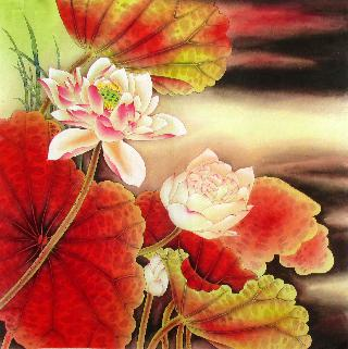 Chinese Lotus Painting,66cm x 66cm,2387009-x
