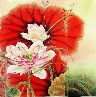 Chinese Lotus Painting,66cm x 66cm,2387011-x