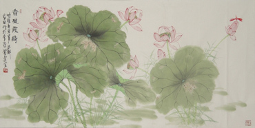 Chinese Lotus Painting,68cm x 136cm,2388002-x