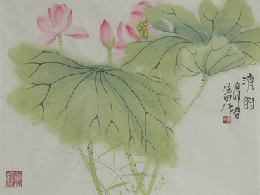 Chinese Lotus Painting,34cm x 46cm,2388003-x